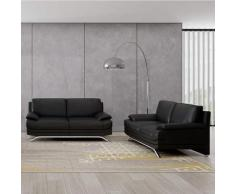 Ensemble salon en cuir noir 3+2 places ROMEO