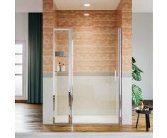 Sirhona - Porte de douche pivotante en niche avec paroi de supplémentaire fixe - 110 x 185 cm