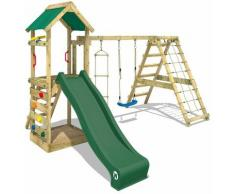 WICKEY Aire de jeux Portique bois StarFlyer avec balançoire et toboggan vert Maison enfant