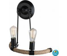 Applique murale en corde de chanvre, lampe à télécommande rustique à intensité variable, avec