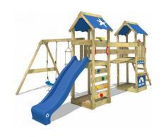 WICKEY Aire de jeux Portique bois SunFlyer avec balançoire et toboggan bleu Maison enfant exterieur