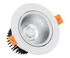Spot Downlight LED COB Orientable Rond (UGR19) 12W Blanc Coupe Ø 90mm Blanc Neutre 4500K - Blanc