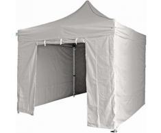 GREADEN - Tente pliante gris clair avec 4 murs amovibles 3x3m SUPER - Tube 40mm en aluminium