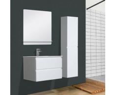 Mob-in - Meuble Salle de Bain 60 cm + Colonne Blanc + Miroir SORRENTO - Blanc