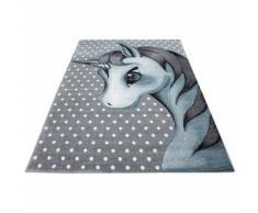 Tapis rectangle pour chambre de bébé licorne Willis Bleu 80x150