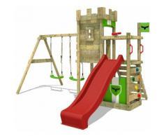 Aire de jeux Portique bois BoldBaron avec balançoire et toboggan rouge Maison enfant exterieur avec