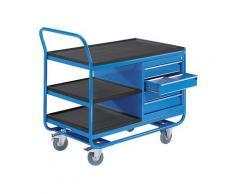 EUROKRAFT Chariot industriel à plateaux - 3 plateaux, 1 armoire à tiroirs - roulettes à bandage