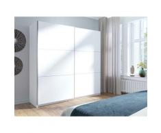 Armoire, garde robe ARSALA blanche 200 cm deux portes coulissantes. Dressing complet, penderie et