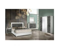 Altobuy - IZIA GRISE - Chambre 160x200cm + Armoire 4 Portes
