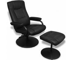 Helloshop26 - Fauteuil chaise siège lounge design club sofa salon avec repose-pied cuir synthétique