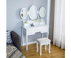 Bathrins - Coiffeuse, Table de Maquillage avec tiroir miroir tabouret 90*40*148cm