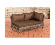 Canapé d'angle Moss rond/gris métallique Marron terre