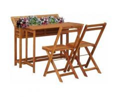 Table de balcon avec 2 chaises de bistro Bois d'acacia massif HDV29888 - Hommoo
