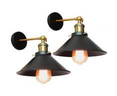 2PCS Applique Murale Métal Style Parapluie 22cm Noir E27, Lampe Rétro Plafonnier Industrielle