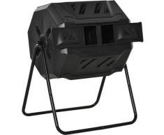 Composteur de jardin - bac à compost pour déchets - rotatif 360° - double chambre 160 L - acier PP