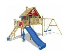 WICKEY Aire de jeux Portique bois Smart Bay avec balançoire et toboggan bleu Maison enfant sur