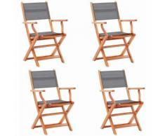 Chaises pliables de jardin 4 pcs Gris Eucalyptus et textilène