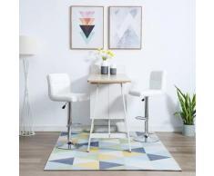 Chaise de bar pivotante 2 pcs Simili-cuir 44x50x115 cm Blanc