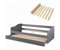 MACEO - Pack Lit Gigogne 90x200cm Gris + Sommier