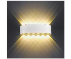 Abcrital - Applique Murale Interieur LED 12W Blanc Lampe Murale Moderne, IP65 Étanche appliques