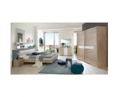 Chambre à coucher complète, imitation chêne, rechampis verre blanc + chrome - Dim : 160 x 200 cm