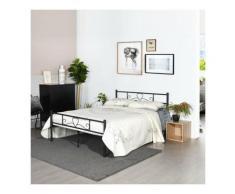 Lit double - En métal - Noir - 140 x 190 cm