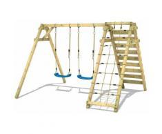 WICKEY Portique balançoire Aire de jeux Smart Cliff avec Portique bois pour enfants