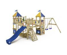 WICKEY Aire de jeux Portique bois Smart Queen avec balançoire et toboggan bleu Maison enfant