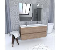 Ensemble avec caissons suspendus + miroir et vasques Chêne