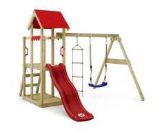Aire de jeux Portique bois TinyPlace avec balançoire et toboggan rouge Maison enfant exterieur avec