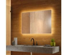 Miroir de Salle de Bain Rétro-Éclairé Blanc Chaud avec désembuage k711BLWW - Couleur LED : Ampoules