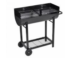Barbecue à Charbon Espace Grille : 82 × 33 cm, Hauteur : 93 cm avec 2 Roues Permettant de Déplacer