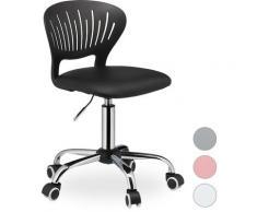 Relaxdays - Chaise pivotante enfants, réglable, siège en simili cuir, capacité de 120 kg, HxlxP 81