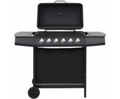 Barbecue au gaz avec 6 zones de cuisson Acier Noir