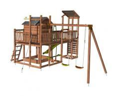Aire de jeux pour enfant maisonnette avec portique et mur d'escalade - COTTAGE FUNNY sans option