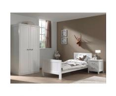 Chambre enfant 3 pièces lit chevet et armoire 2 portes laqué bois blanc Lewis 90x200 cm