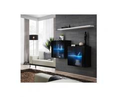 Ensemble meubles de salon SWITCH SBIII design, coloris noir brillant et porte vitrée avec système