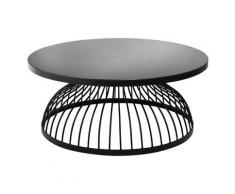 Atmosphera - Table Basse Kushi en Verre trempé et métal Noir D 90 cm et H 38 cm
