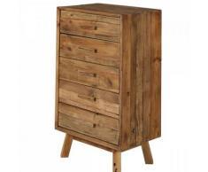 Chiffonnier commode hauteur 101 cm 5 tiroirs bois pin recyclé - CHALET - naturelle
