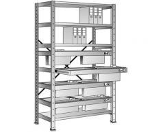 Rayonnage emboîtable pour dossiers suspendus - hauteur 2280 mm, châssis à 2 rangées - rayonnage de