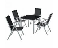 Salon de Jardin avec 4 Chaises Pliantes et 1 Table en Verre et en Aluminium Gris clair / Noir