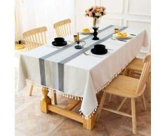 ILoveManoMano Nappe à rayures en tissu simple, tapis de table anti-poussière en coton et lin à