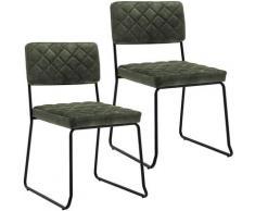 Décoshop26 - Lot de 2 chaises visiteur fauteuil salle à manger bureau en velours vert foncé