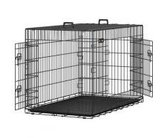 FEANDREA 2 Portes Cage Pour Chien - Pliable et Transportable - avec Poignée et Plateau XXL: 122 x