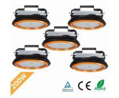 5× UFO-Projecteur LED 200W Phare de Travail Rond IP65 Haute Baie d'éclairage Suspension 26000LM
