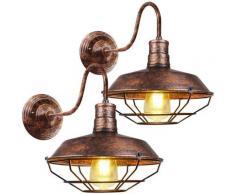 2pcs Applique Murale Industrielle Rustique Interieur Cage Lampe Suspension vintage Luminaire pour