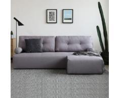Brooklyn gris clair/gris foncé : Canapé modulable 3 places + 1 pouf gris clair/gris foncé