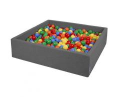 120X30cm/1000 Balles ? 7Cm Carré Piscine À Balles Pour Bébé Fabriqué En UE, Gris Foncé: