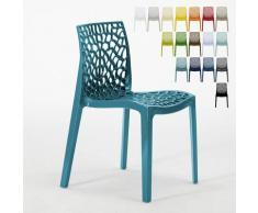 Chaise en polypropylène nid d'abeille cuisine bar café Gruvyer Grand Soleil | Bleu 3