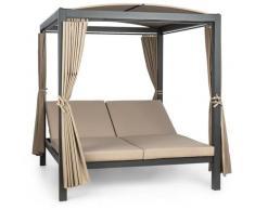 auna Hermitage Double XL balancelle 2 pers structure acier auvent rideaux - Blumfeldt